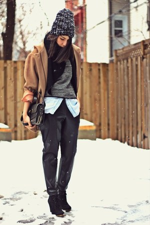 black faux leather H&M pants - black suede wedge Zara boots