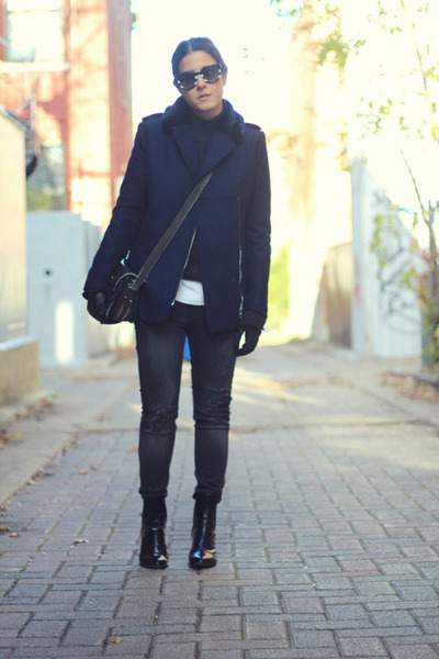 navy H&M coat - black Zara boots - dark gray H&M jeans - black Oysho sweater
