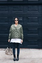dark green padded bomber Front Row Shop jacket - black Zara boots