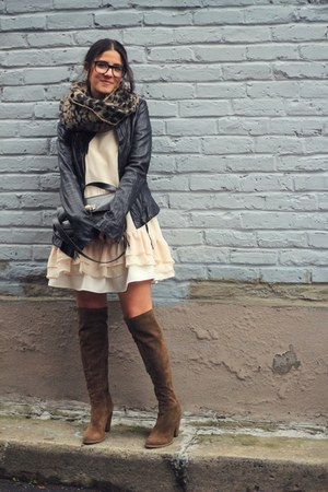 white ruffled Need Supply dress - light brown Zara boots