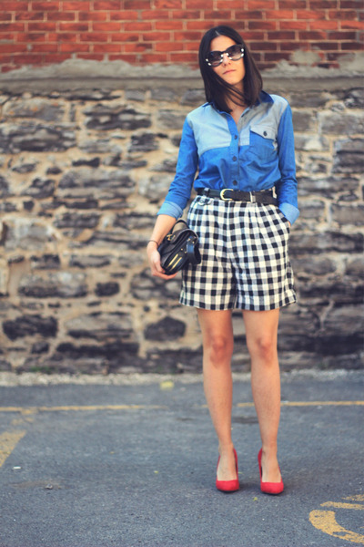 blue denim patchwork asos shirt - dark gray Zara bag