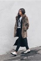 black duster Choies vest - light brown Nasty Gal coat - black Topshop jeans