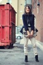 black suede wedge Zara boots - dark gray wool two tone H&M blazer