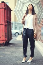 white Zara shirt - light pink storets cardigan - black faux leather H&M pants