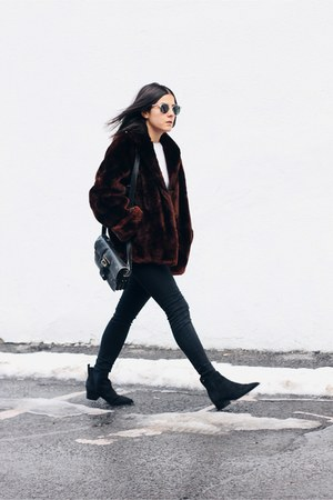 crimson mouton fur vintage coat - black suede acne boots - black Topshop jeans