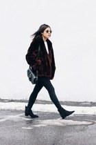 crimson mouton fur vintage coat - black suede acne boots - black Topshop jeans