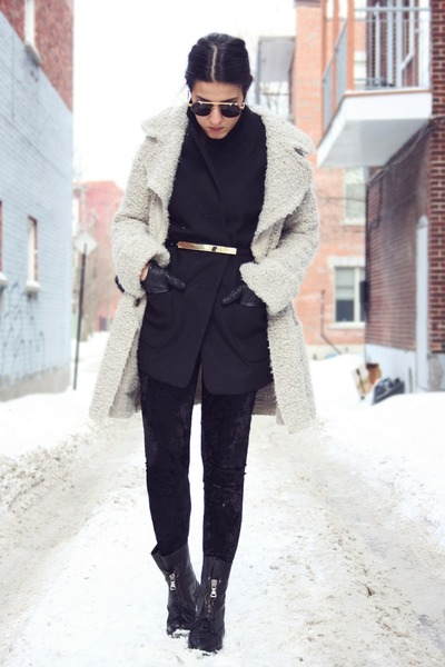 black Topshop coat - off white boucle Zara coat - black Zara boots