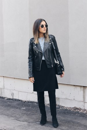 black apron Front Row Shop pants - black jensen acne boots