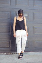 black backpack Onna Ehrlich bag - off white Topshop pants - black Zara sandals