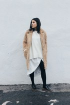 nude teddy Front Row Shop coat - white Zara sweater - ivory Nasty Gal skirt