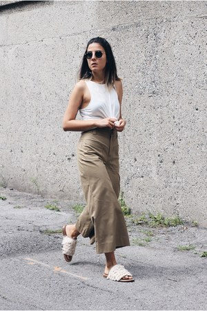 dark khaki cropped Zara pants - white Topshop top - ivory fringed Tibi sandals