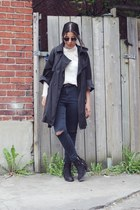 black Topshop boots - gray Ennji coat - dark gray Topshop jeans
