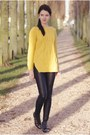 Yellow-sheinside-sweater-black-h-ampm-pants