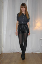 black leather vintage shorts - black polkadot vintage blouse