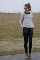 suede Primark boots - studded H&M sweater - vintage leather Episode shorts