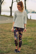 floral Mango pants - silver Zara shoes - studs H&M sweater