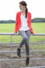 Black-zara-boots-heather-gray-skinny-only-jeans-ruby-red-forever21-blazer