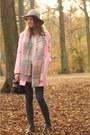 Black-studs-studded-zara-shoes-bubble-gum-pink-coat-pink-boohoo-coat