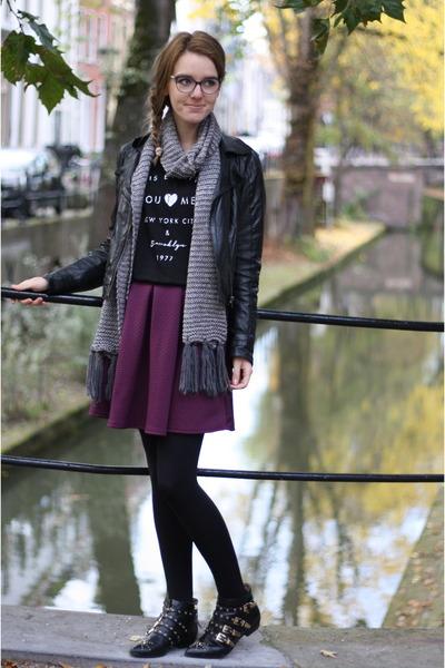 black Zara shoes - black leather asos jacket - black Mango top