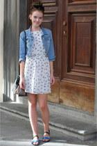 white Primark dress - blue Primark jacket - heather gray metallic Monki sandals