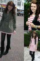 red H&M dress - black Zara vest - black Secondhand shoes - green H&M coat