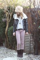 black lammy coat H&M jacket - dark brown leather fur Hub boots