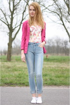 blue Primark jeans - hot pink thrifted vintage blazer - pink Choies top