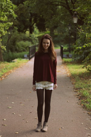 cream studs Primark boots - brick red knitted H&M sweater