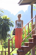 black Primark bag - white Primark top - salmon maxi maxiskirt Primark skirt