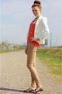 White-zara-blazer-coral-mango-top-camel-primark-pants