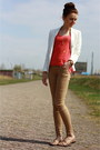 White-zara-blazer-camel-primark-pants-coral-mango-top