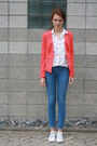 White-allstars-converse-shoes-blue-skinny-h-m-jeans-red-forever21-blazer