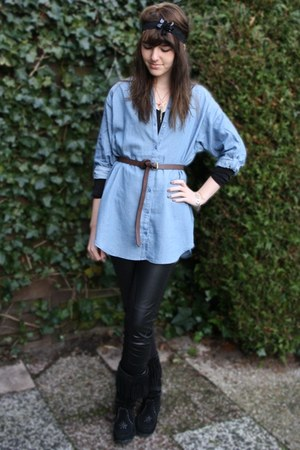 blue H&M blouse - black Zara pants - black Secondhand boots