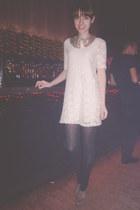 cream lace Zara dress - tan suede H&M heels - gold H&M necklace