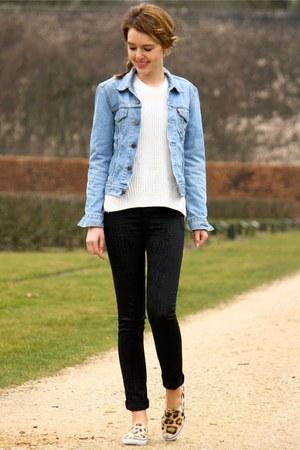 blue Levis jacket - black Cheap Monday jeans - white H&M sweater