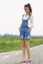 blue denim asos jumper - white chiffon Zara blouse