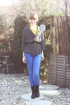 polkadot vintage blouse - Primark blouse - H&M boots - Zara pants