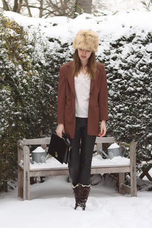 cream H&amp;M hat - dark brown Hub boots - brown vintage blazer - neutral H&amp;M top
