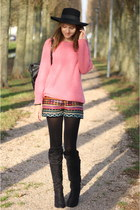 d49a9d75f189 hot pink knitted Primark sweater - black faux leather Primark bag