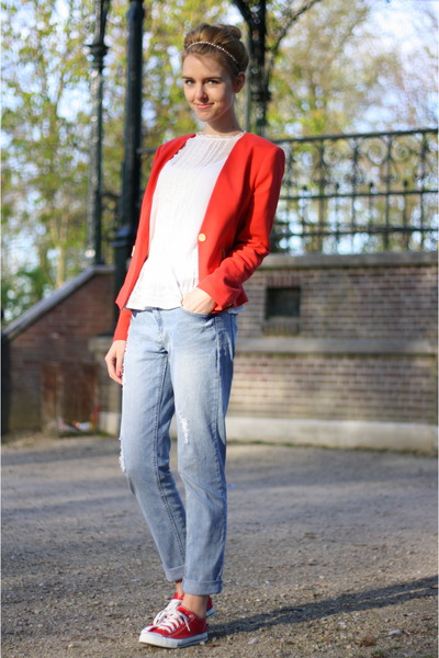 red red boyfriend Forever21 blazer - blue Primark jeans - white H&M top