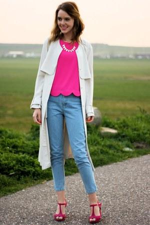 hot pink Primark shoes - beige H&M coat - blue Primark jeans