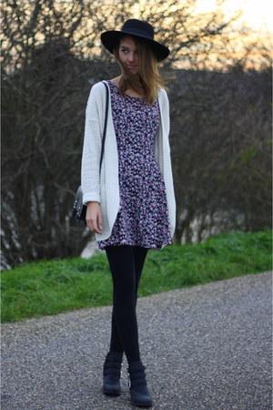 black H&M boots - hot pink H&M dress - black fedora H&M hat