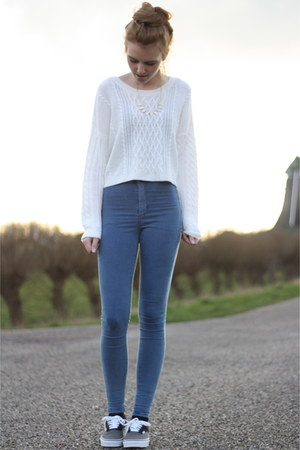 white cropped knitted Primark sweater - blue Topshop jeans