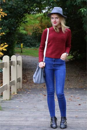 heather gray suede pauls boutique bag - blue Monki jeans
