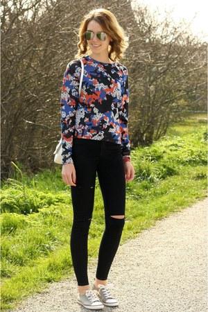 navy Monki sweater - black Primark jeans - white Primark bag