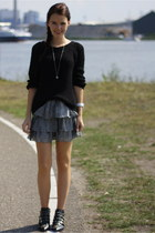 black studs Zara boots - black knitted H&M sweater - white H&M skirt