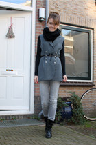 gray vintage vest - black H&M boots - silver Only jeans - black H&M scarf