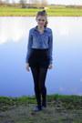 Studded-h-m-shorts-studded-zara-loafers-denim-h-m-blouse