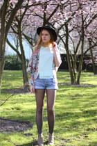coral Topshop blazer - camel Isabel Marant boots - blue vintage levis shorts