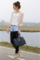 black leather Mynewbag bag - cream knitted Vila sweater
